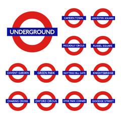 London underground isolated on white background. Set of metro tube subway. Symbol UK. Vector stock