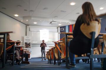 French apprentices attend a training in a classroom at The Codis Apprentice Training Center (Centre de Formation d'Aprentice Codis CFA), following the outbreak of the coronavirus disease (COVID-19), in Paris