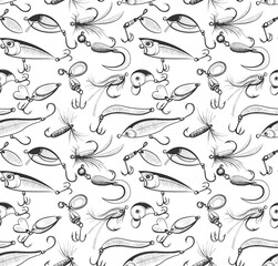 Fishing and fly fishing lures seamless pattern. Background or texture for your design. Sketch style vector illustration on white background.