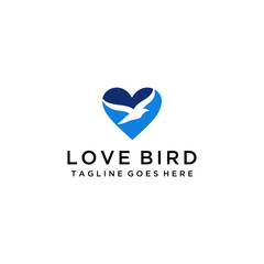 Creative luxury modern bird with heart sign logo template vector icon