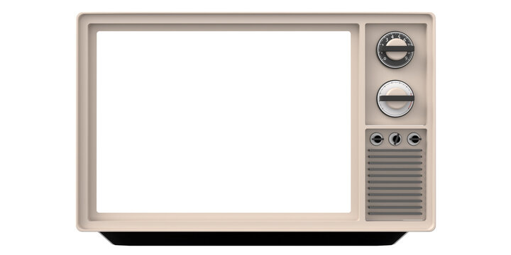 Retro old tv with blank screen isolated cutout on white background. 3d illustration