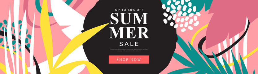 Tropical summer sale illustration in web banner format for special season offer. Exotic palm tree leaves and hand drawn decoration with shopping discount label.