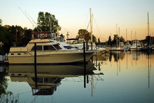 Dusk sets in on a luxury yacht club in Westport, Connecticut