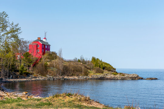 Red Lighthouse on Lake Superior in Upper Michigan