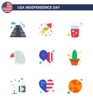 Modern Set of 9 Flats and symbols on USA Independence Day such as celebrate; usa; alcohol; eagle; animal