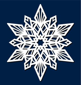 Laser cutting template. Die cut Christmas star. Snowflake Mandala. Doily lace. Oriental pattern, vector illustration. Paper cutout snowflakes motifs. Stencil