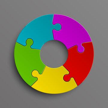 Puzzle five color piece business presentation. Circle infograph. 5 Step round process diagram. Section compare banner.