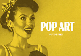 Pop Art Duotone Effect Mockup
