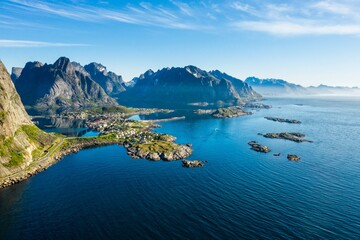 aerial view. flight over the Atlantic ocean,view on the fishing village Reine and Hamnoya .Lofoten Islands,Norway.