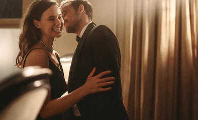 Beautiful couple having fun at a gala party
