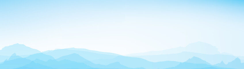 Poster Bleu clair Vector blue mountains background.