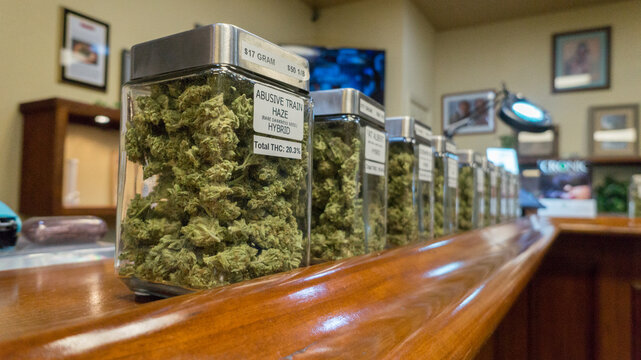 Jars of marijuana strains
