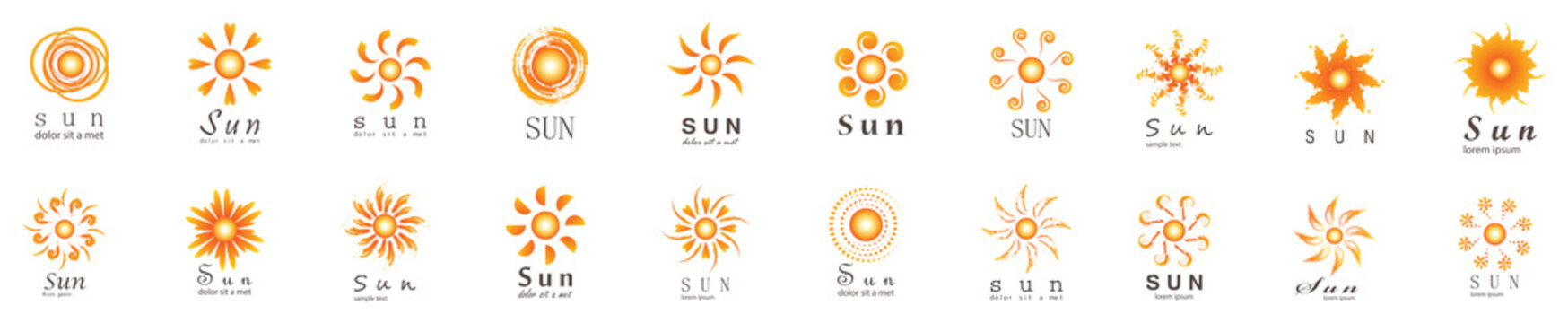 Abstract Sun Logo And Icon Set - Isolated On White Background, Vector Illustration. Abstract Sun Logo And Icons For Solar Energy Logo And Sunburst Icon Design. Abstract Sun, Vector Illustration