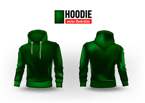 Vector illustration dark green hoodie sweater. Mens training sweatshirt high neck long sleeve vector template.