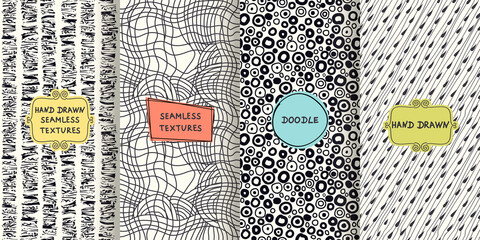 Set of  seamless hand drawn texture designs for backgrounds, business cards, web design. Doodle pattern with trendy modern colorful labels. vector illustration