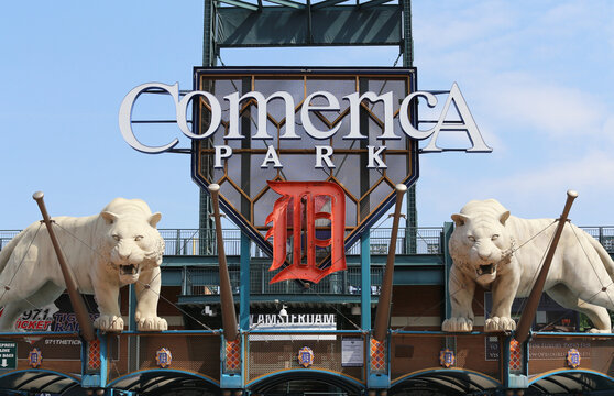 Detroit, MI, USA - July 31, 2014: Comerica Park located in Detroit, Michigan. Comerica Park is a large outdoor baseball stadium and home to the Detroit Tigers of MLB.