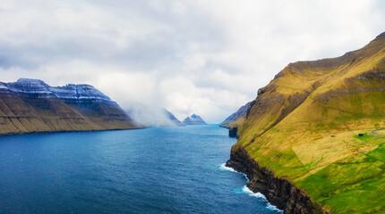 Wall Mural - Channel between islands of Bordoy and Kalsoy, Faroe Islands, Denmark