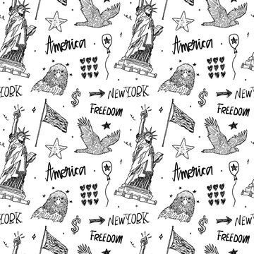 Hand-drawing seamless pattern with Statue of Liberty, eagle, American flag, lettering. Sketch background for USA holidays design.