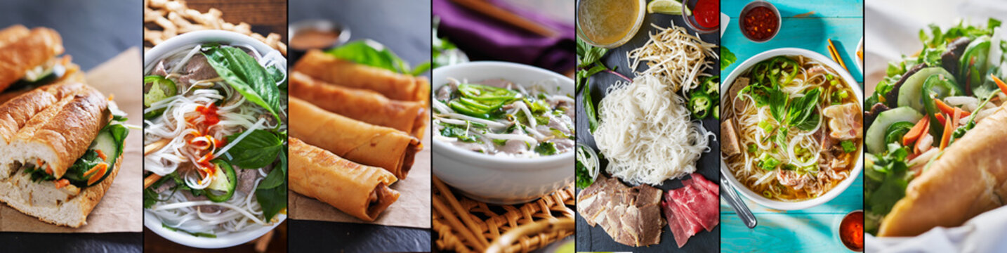 vietnamese food collage with beef pho and bahn mi