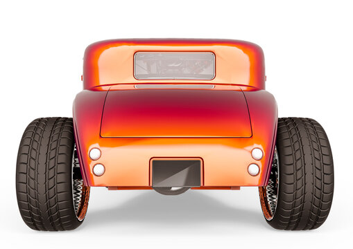 hotrod with no brand in white background rear view