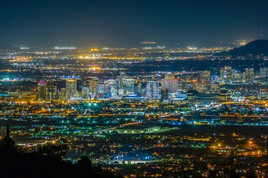 The City of Phoenix, Arizona at night.