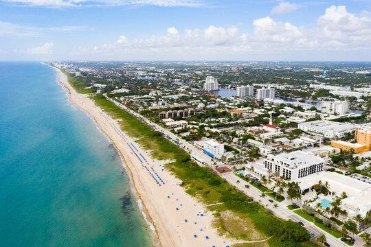 Aerial drone photo Delray Beach Florida reopening during Coronavirus Covid 19 pandemic