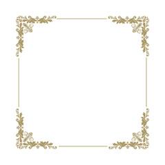 empty golden ornamental frame, damask pattern, vector