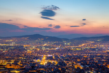 Sunset on Great city - Athens - star from ancient to modern time