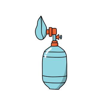 bag valve mask doodle icon, vector illustration