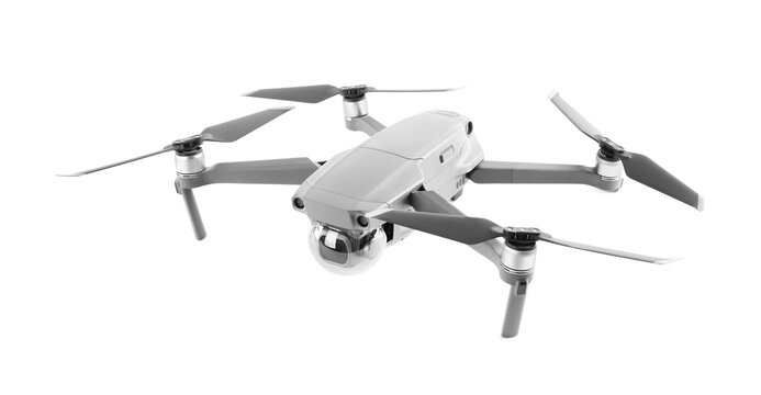 Modern drone with camera isolated on white