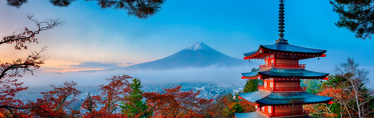 Japanese Travel Destinations. Famous Mount Fuji and Chureito Pagoda Along With Traditional Red Maple Trees At Fall Season.