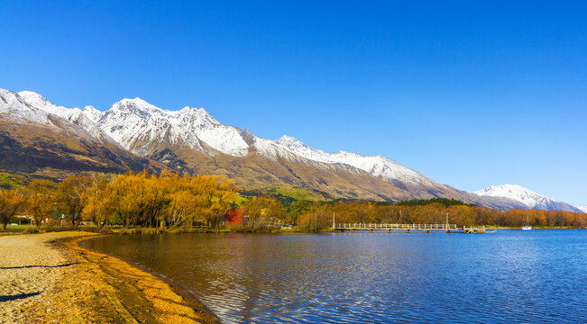Glenorchy at the northern end of Lake Wakatipu in the South Island region of Central Otago, New Zealand