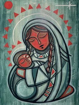 Virgin Mary and baby Jesus painting
