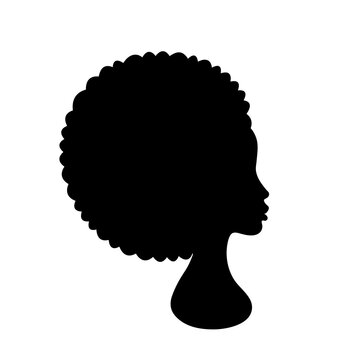 Beautiful African American Woman Face Profile Silhouette on white background. Beautiful afro girl head side view. Vector Illustration
