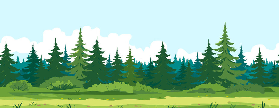 Path along spruce forest with big green trees game background tillable horizontally, tourist route near the dense spruce forest and bushes in summer sunny day nature illustration background