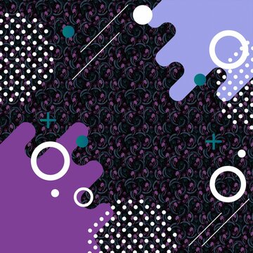 3D rendering illustration of different purple and white shapes with floral background