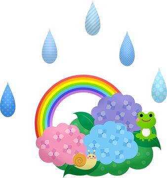 Illustration of cartoon raindrops, plants, flowers, a frog, a rainbow and a slug