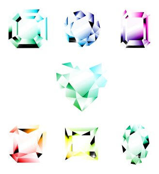 3D rendering illustration of colorful shiny diamonds isolated on a white background