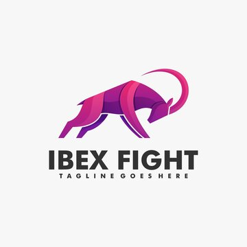 Vector Logo Illustration Ibex Fight Gradient Colorful Style.