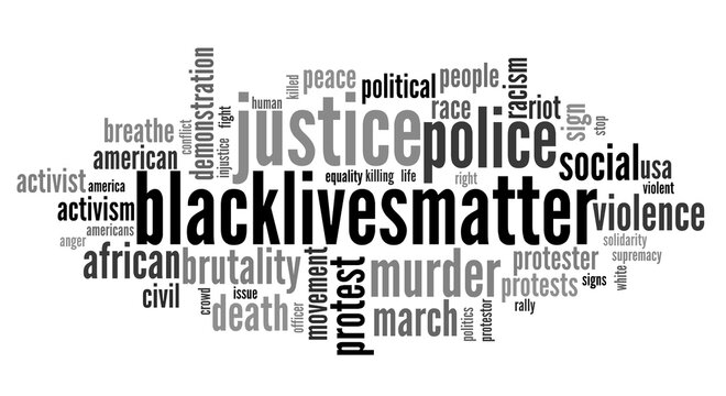 Word cloud of the BlackLivesMatter activist movement which reflects police brutality that caused protests in USA