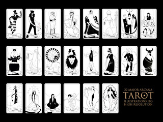22 Major arcana of the tarot in full, isolated on white background. JPG illustrations in high resolution