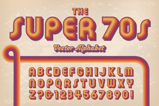 A 1970s Styled Retro Alphabet Against A Grunge Background