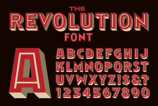 A Bold Inline Vector Font Reminiscent of Type Used on Revolutionary or Political Graphic Poster Art
