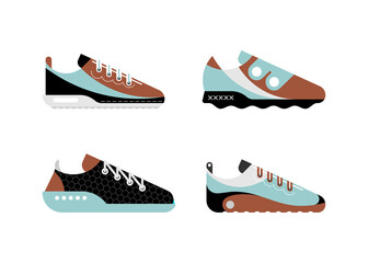 Photo sur Aluminium Art abstrait Four different modern trainers. Blue, brown, black and grey isolated on a white background Running Shoes vector designs. Casual and sportive sneakers.