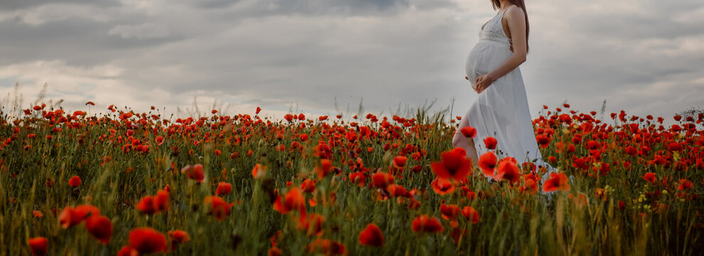 Close up a pregnant woman in white dress holding with her hands her belly in a red poppies flowers field