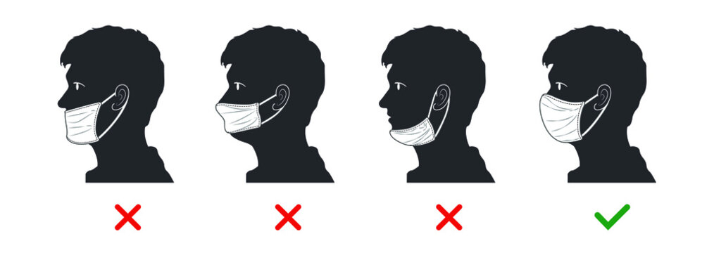 The right and wrong way to wear a mask. Silhouette characters about mistakes people make when wearing face masks.