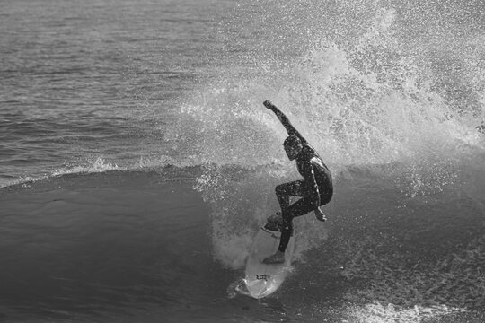Surfing a winter swell at Sebastian Inlet in Florida