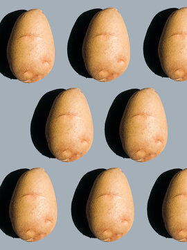 potatoes on a solid background