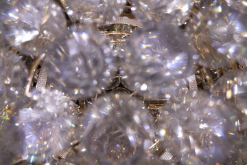 Canvas Prints Dandelions and water Clear Sparkling Gems on a Chandelier