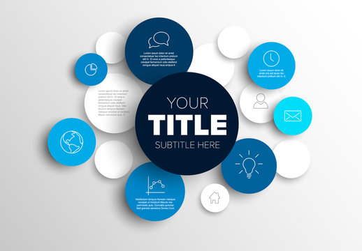 Multipurpose infographic made from blue content circles